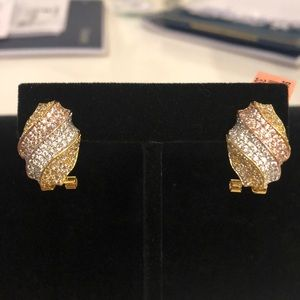 Diamond J-Hoop Earrings Studs Rose Gold